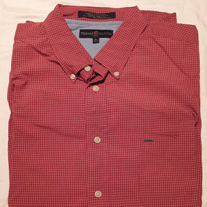 TOMMY HILFIGER men's red checkered long sleeve